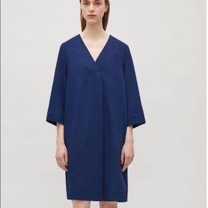 COS NWOT crossover v neck blue dress